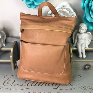 Aspen convertible tan leather backpack